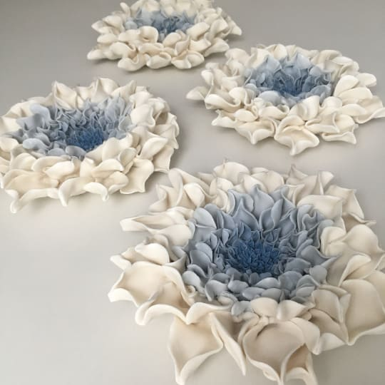 Blue Dahlia Porcelain Ceramic Wall Art set of Ceramic Wall Sculpture - Maapstudio