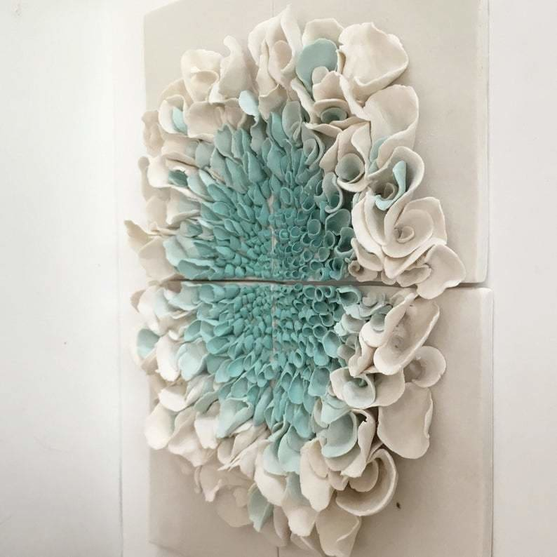 Ceramic Wall Art Blossom Tiles , White and Turquoise