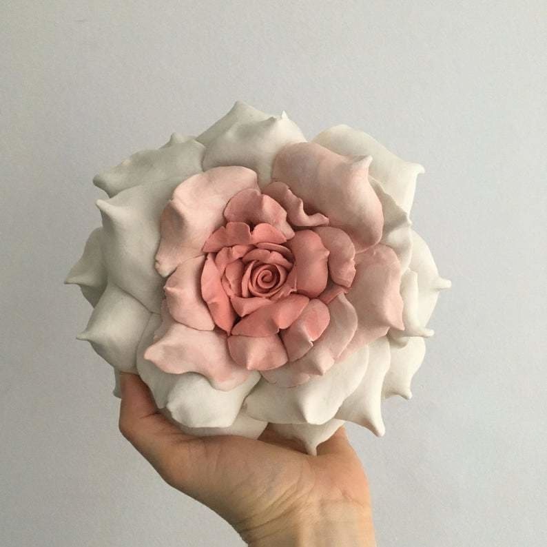 Rose Ceramic Wall art Dust pink and White