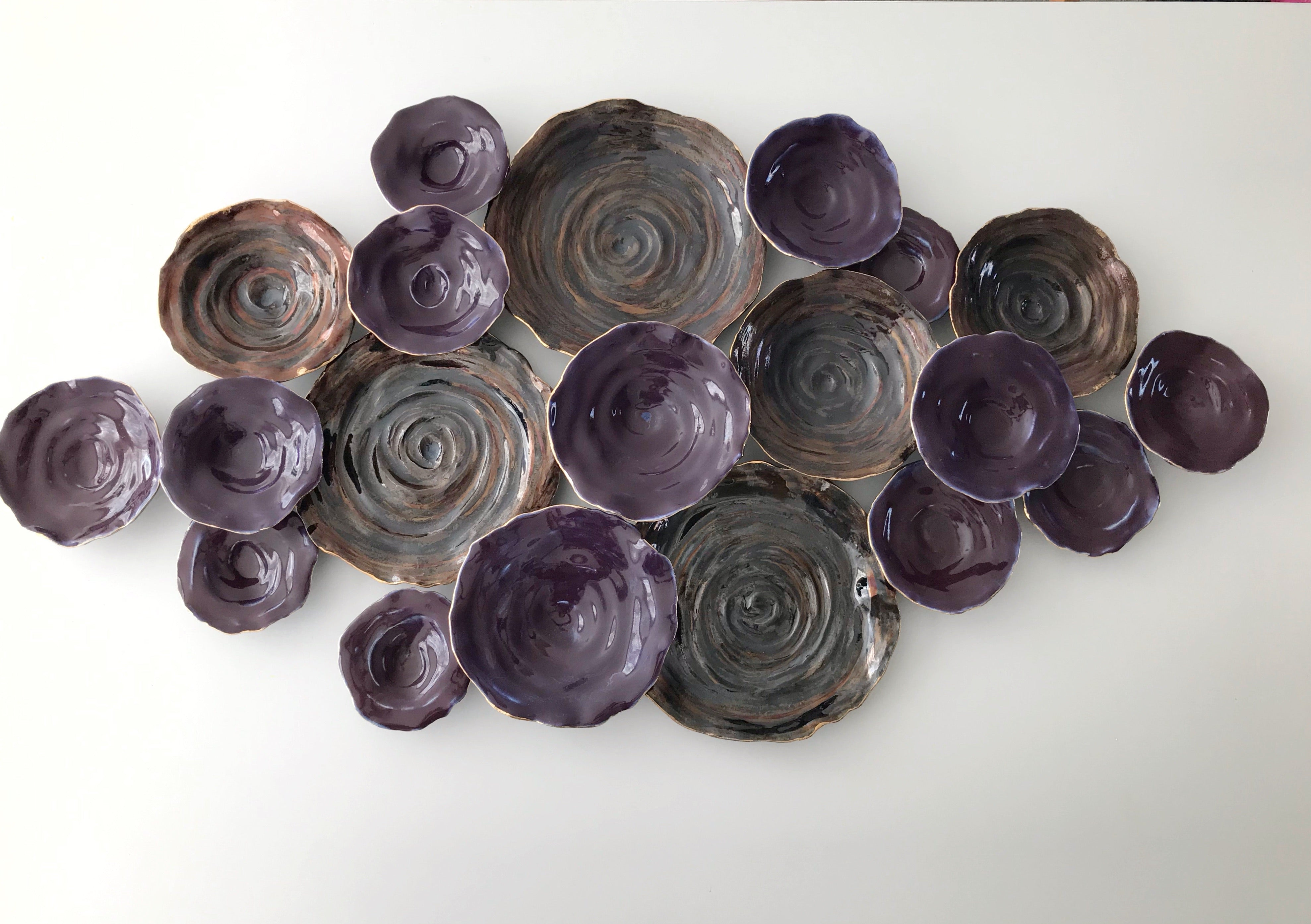 Ceramic Plate Wall Art, Discs Wall Sculpture Artwork