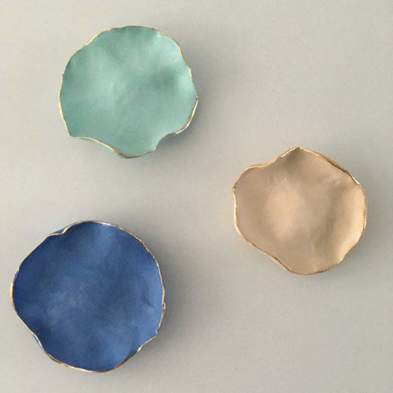 Porcelain Flower Ceramic Wall Art, Set Of Three Ceramic Wall Hanging Plates