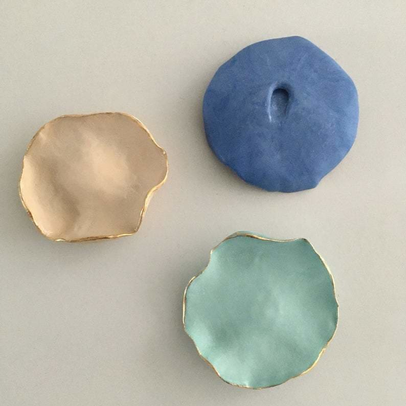 Porcelain Flower Ceramic Wall Art, Set Of Three Ceramic Wall Hanging Plate