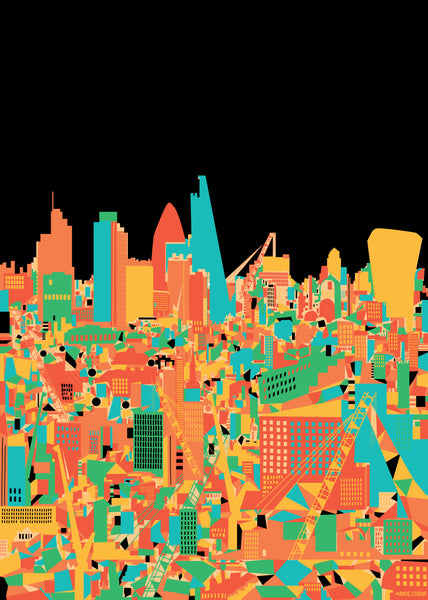 A3 'City Black' Art Print.