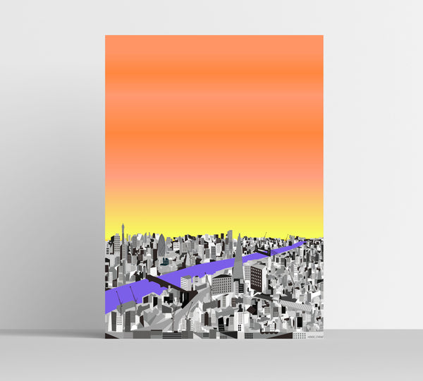 A3 'City Sunrise' Art Print.