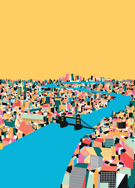 A3 'Thames Yellow' Art Print.
