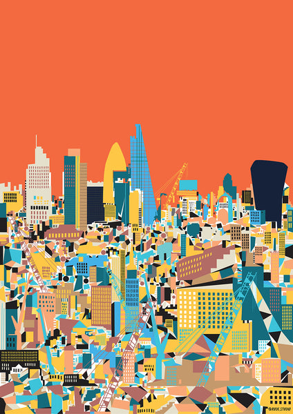 A1 'City Orange' Art Print.