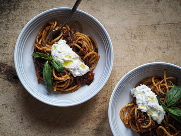Overnight Aubergine Ragu with Bucatini and Burrata