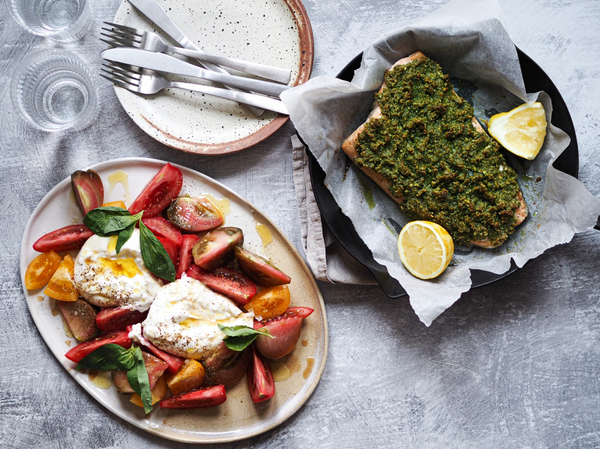 Almond and Basil Baked Salmon with Heritage Tomatoes and Burrata with Klara Risberg