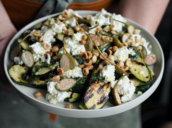 Grilled Courgette Salad with Ricotta, Toasted Hazelnuts and Anchovy Dressing with Klara Risberg