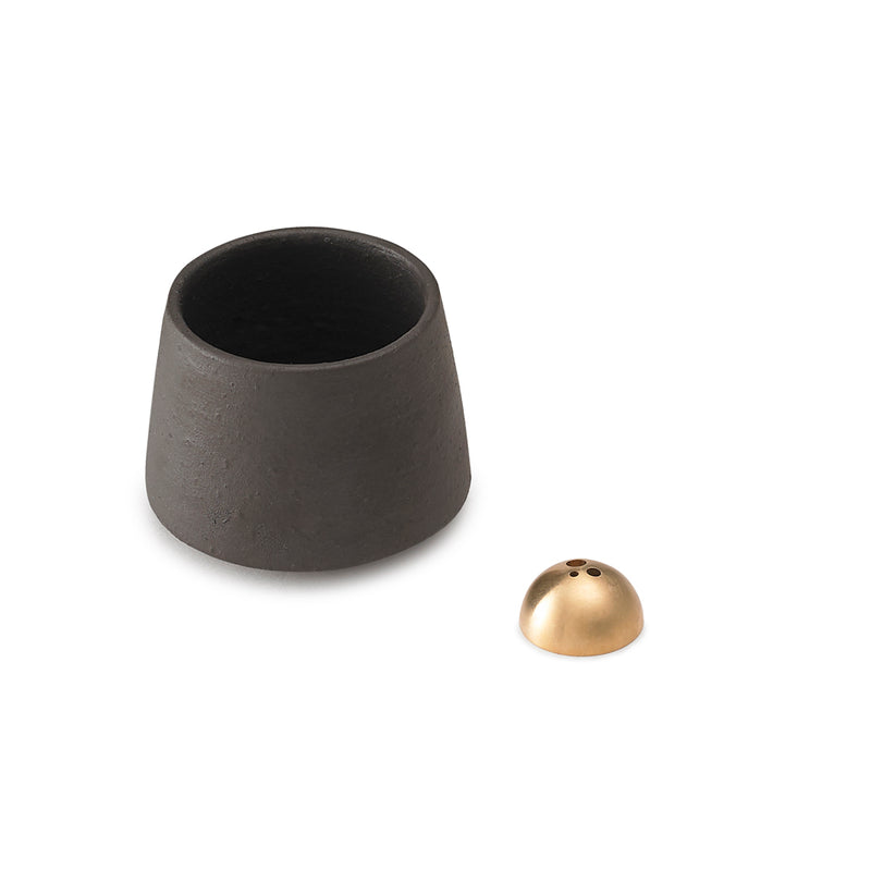 Black Mini Incense Pot - Black Matt Stoneware
