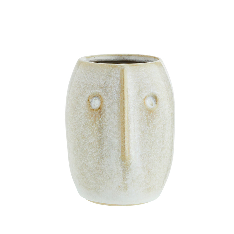 White Stoneware Face Pot
