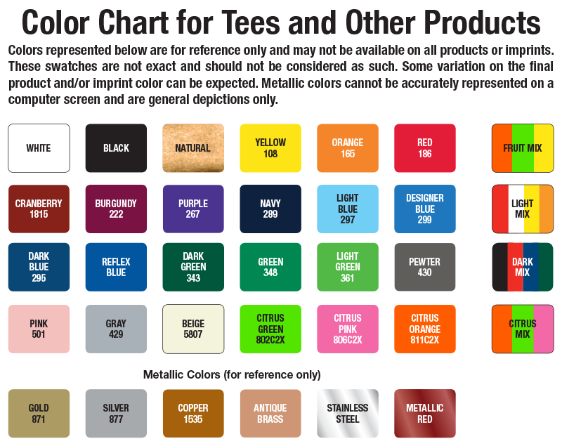 Color Charts Golftees