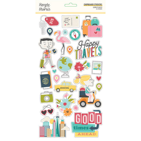 Going Places Chipboard Stickers