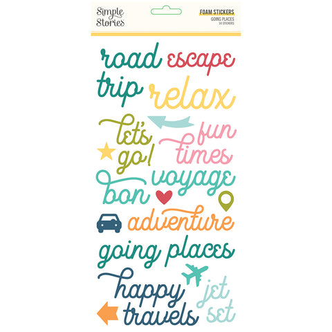 Going Places Foam Stickers