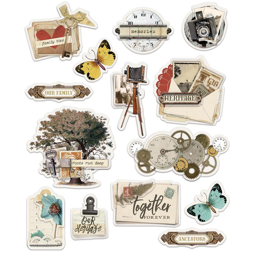 Simple Vintage Ancestry Layered Stickers