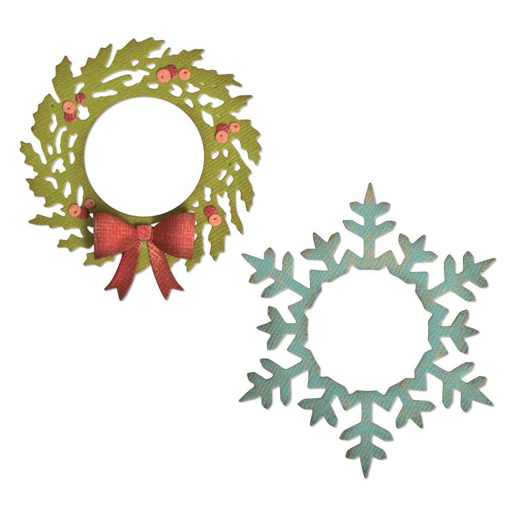 Sizzix Thinlits Dies by Tim Holtz Wreath & Snowflake