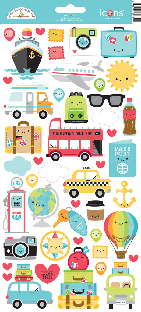 I ♥ Travel Icons Cardstock Sticker