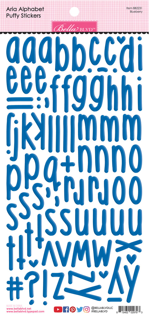 Aria Alphabet Puffy Stickers - Blueberry