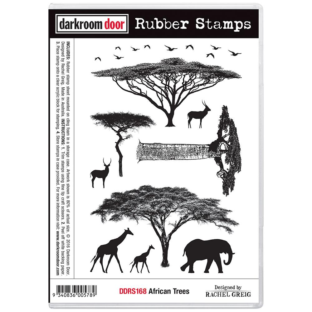 Darkroom Door Rubber Stamp Set African Trees