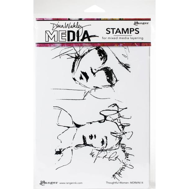 Dina Wakley Cling Stamp Thoughtful Women