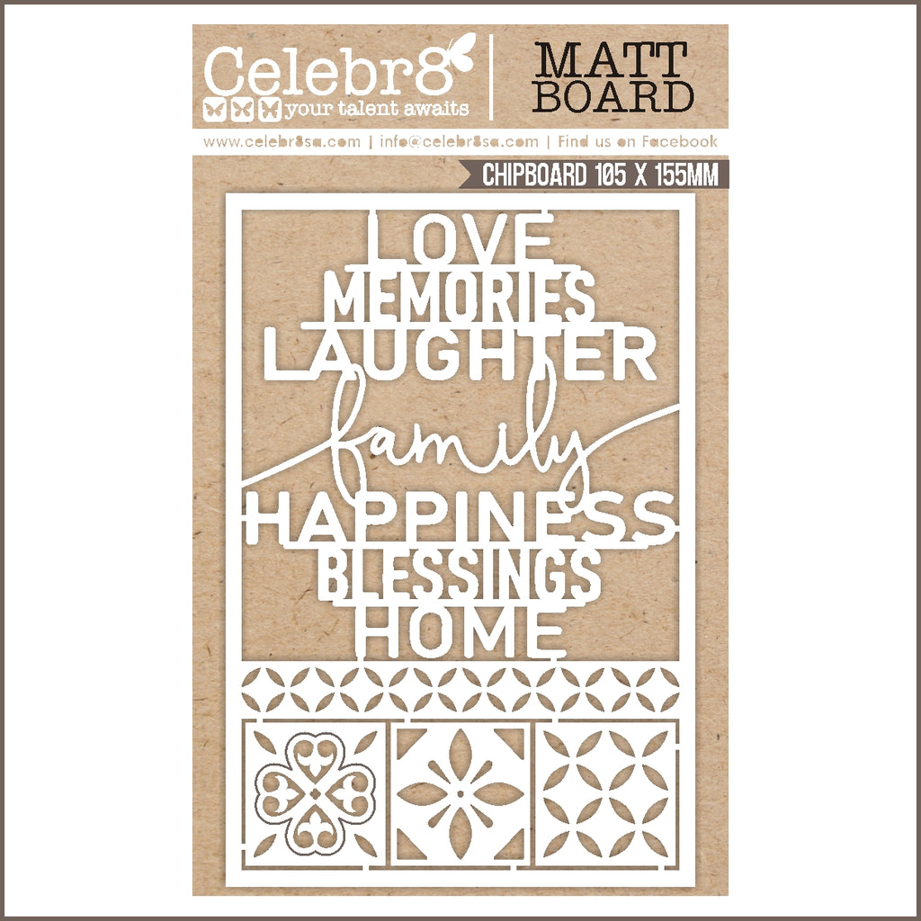 Celebr8 Chipboard - Family Words