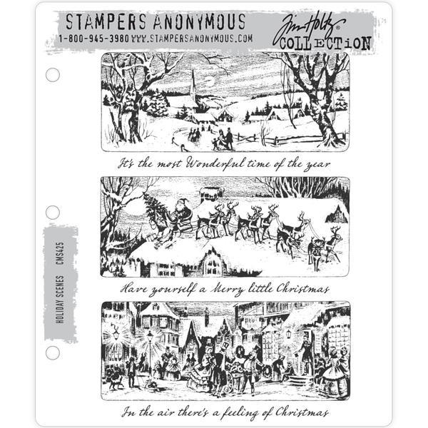 Tim Holtz Cling Stamps Holiday Scenes