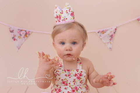 Baby in vintage romper outfit