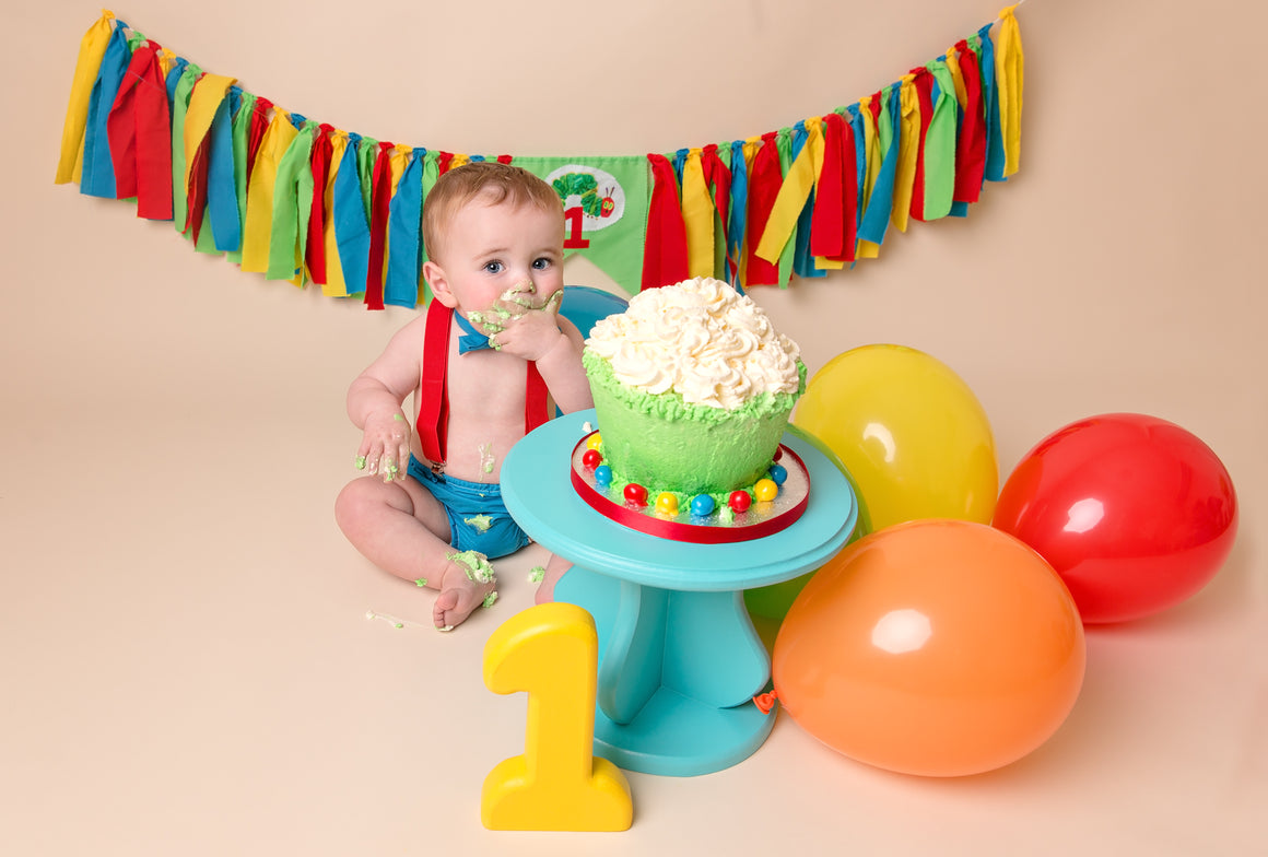 Hungry Caterpillar Outfit and Optional Rag Garland - Age 12-18 mths - Cake Smash - Photography Prop - First Birthday