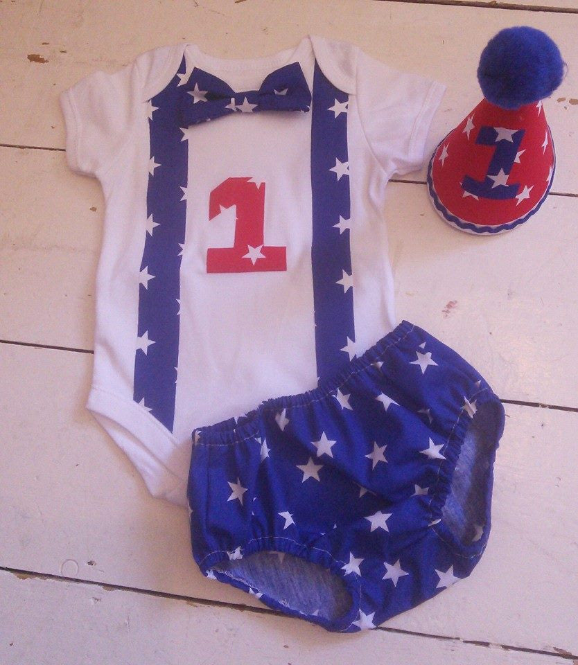 Blue and red star Cake Smash outfit