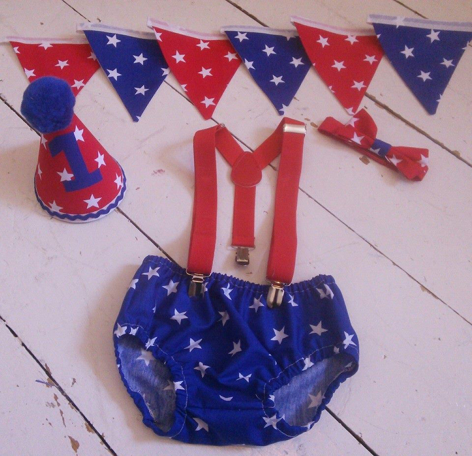 Boys Red/Blue Star Cake eSmash Outfit