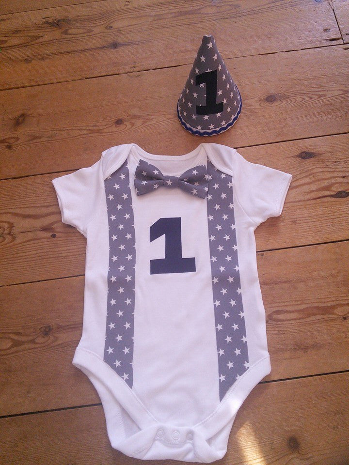 Boys Grey Star Cake Smash Outfit