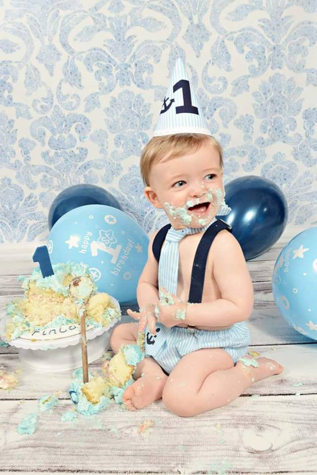 Boys Blue Anchor Sailor Cake Smash Set -Tie, Bow Tie, Pants and hat age 12-18 months