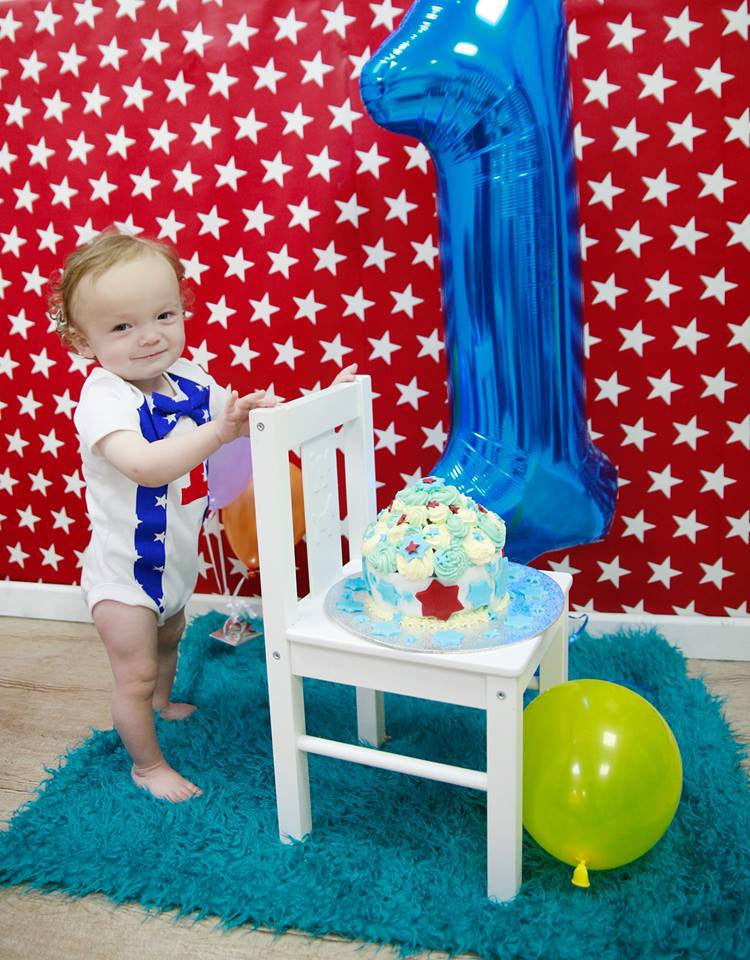 blue and red star cake smash set