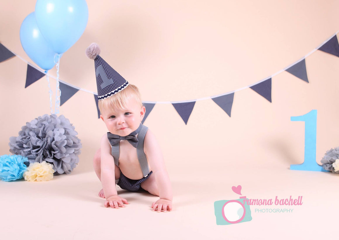 Boys Blue And Grey Cake Smash Outfit