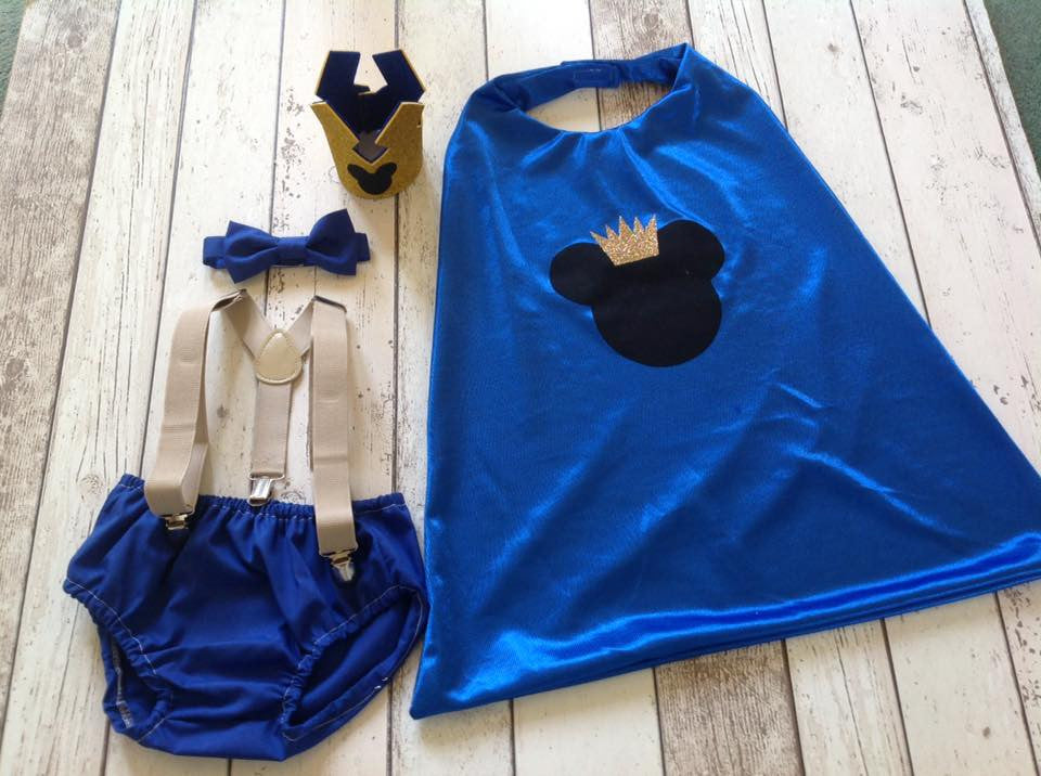 Prince Mickey Cake Smash Set - Super Hero outfit age 12-24 months
