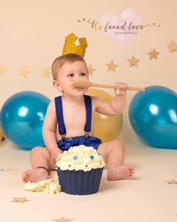 Boys Royal Blue Cake Smash Outfit, Pants, Bow Tie, Braces, Gold Crown - Age 12-18 mths