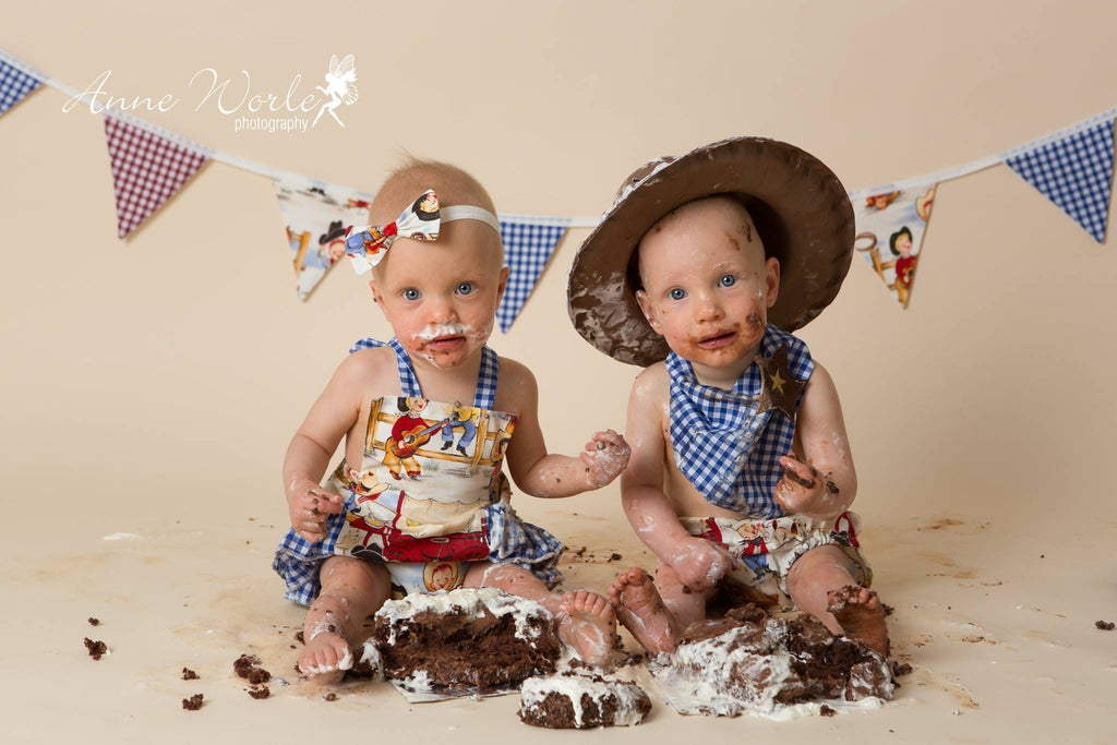 Girls Cowgirl Ruffle Romper, Headband Cake Smash Outfit - 12-18 mths