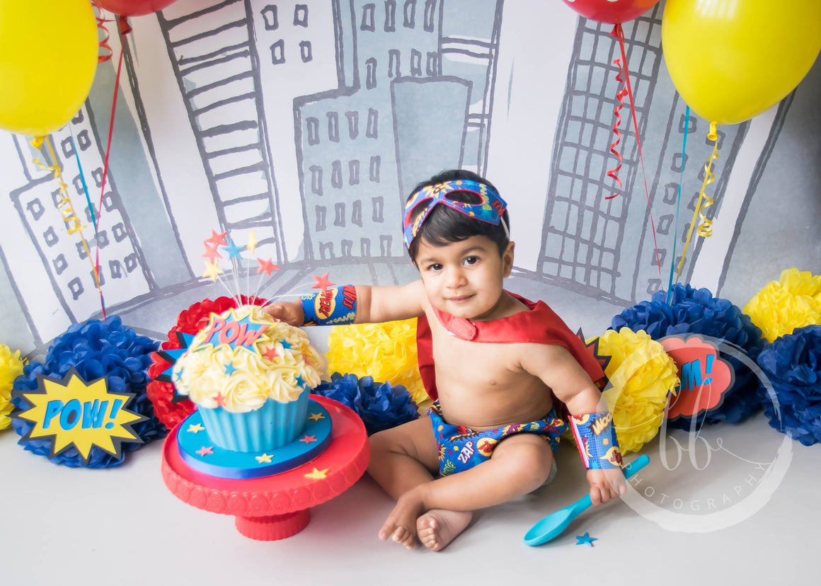 Boys Pow Cake Smash Set - Super Hero outfit age 12-24 months