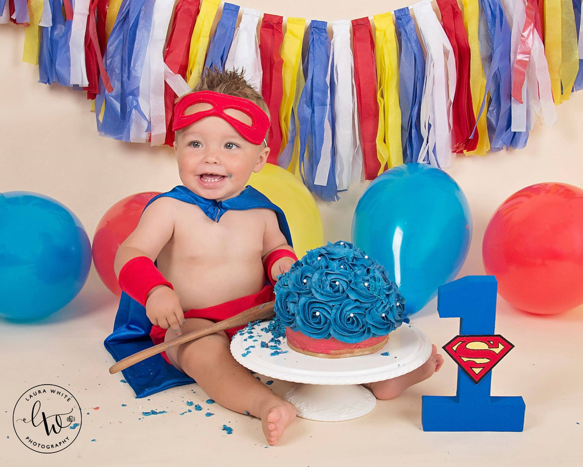 Boys Cake Smash Set - Super Hero outfit age 12-24 months
