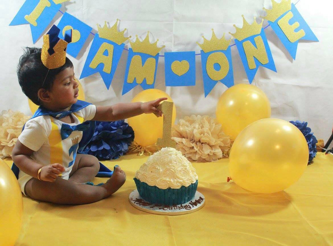 Boys Royal Cake Smash Outfit - Cape, Crown, Vest Set - age 12-18 months - Photography Prop - Birthday