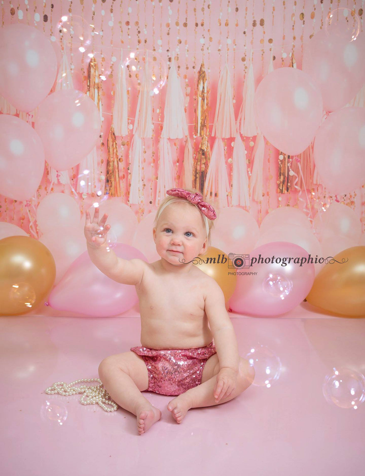 Girls Sparkly Pink Pants and Headband - 12-18 mths - Photography