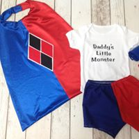 Girls Harlequin Inspired Super Hero Set, Cape, Shorts, Vest - Age 12-18 mths