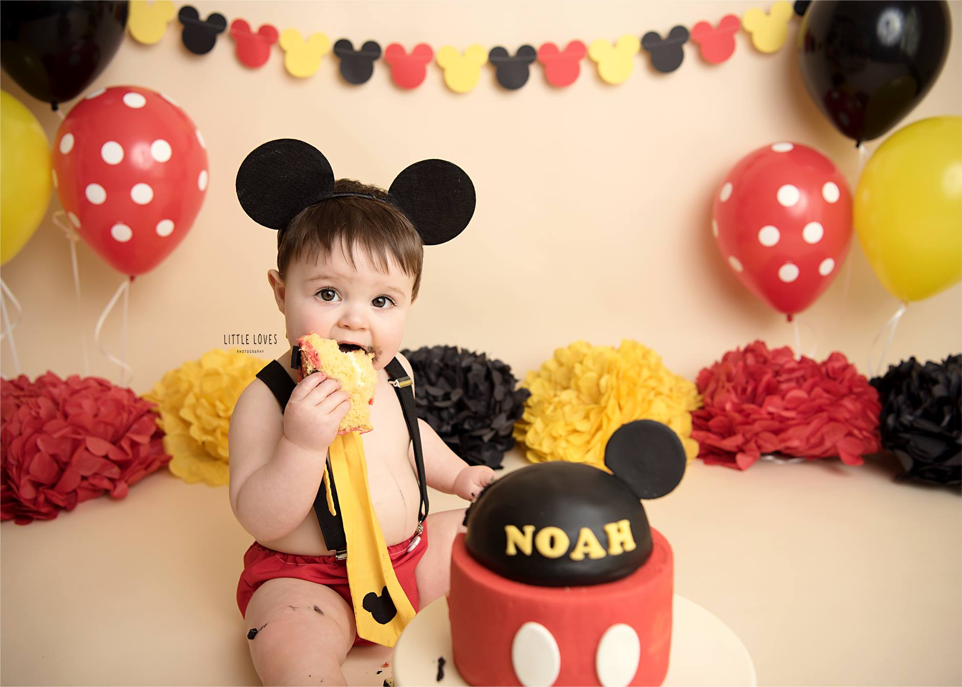 Magnificent Boys Mickey Mouse Cake Smash Outfit 12 18 Mths First Birthday Personalised Birthday Cards Veneteletsinfo