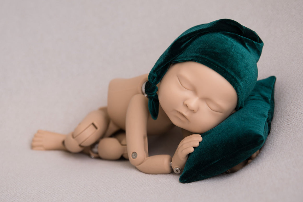 Green Velvet Posing Pillow and Sleepy Cap - Newborn Posing - Newborn Photograpy