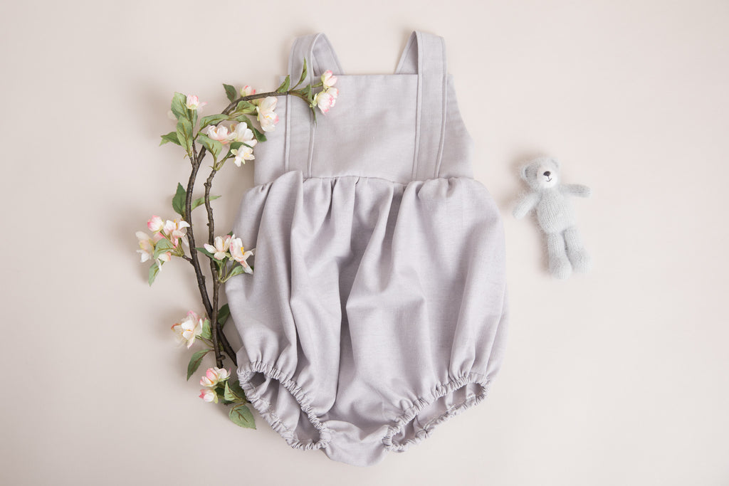 Boys Soft Grey Linen Romper - photo shoot - special occasions