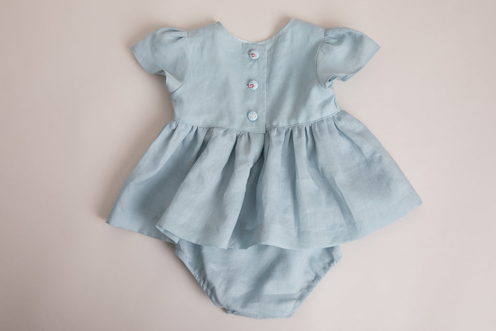 Girls Powder Blue Linen Tunic and pants set - photography shoot - special occasions