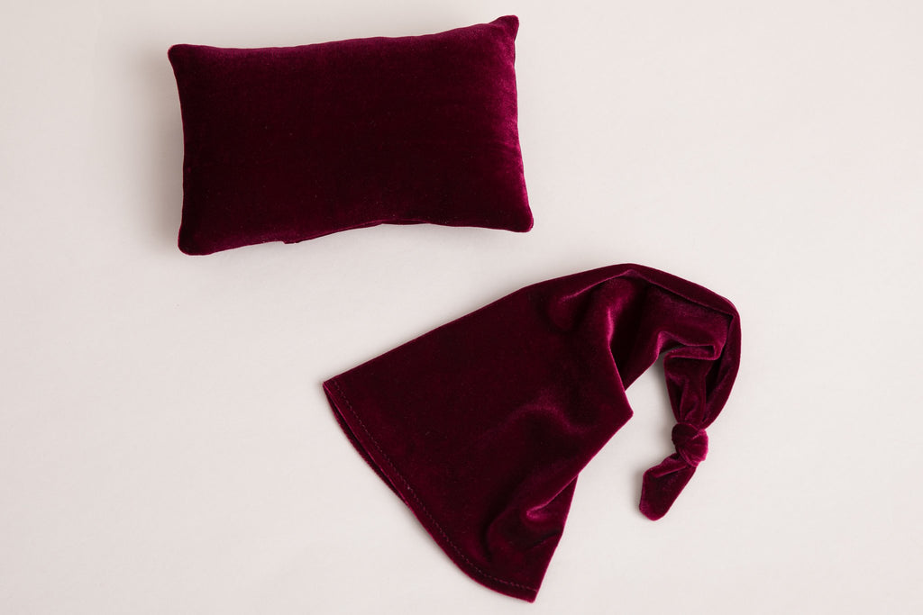 Claret Velvet Posing Pillow and Sleepy Cap - Newborn Posing - Newborn Photograpy