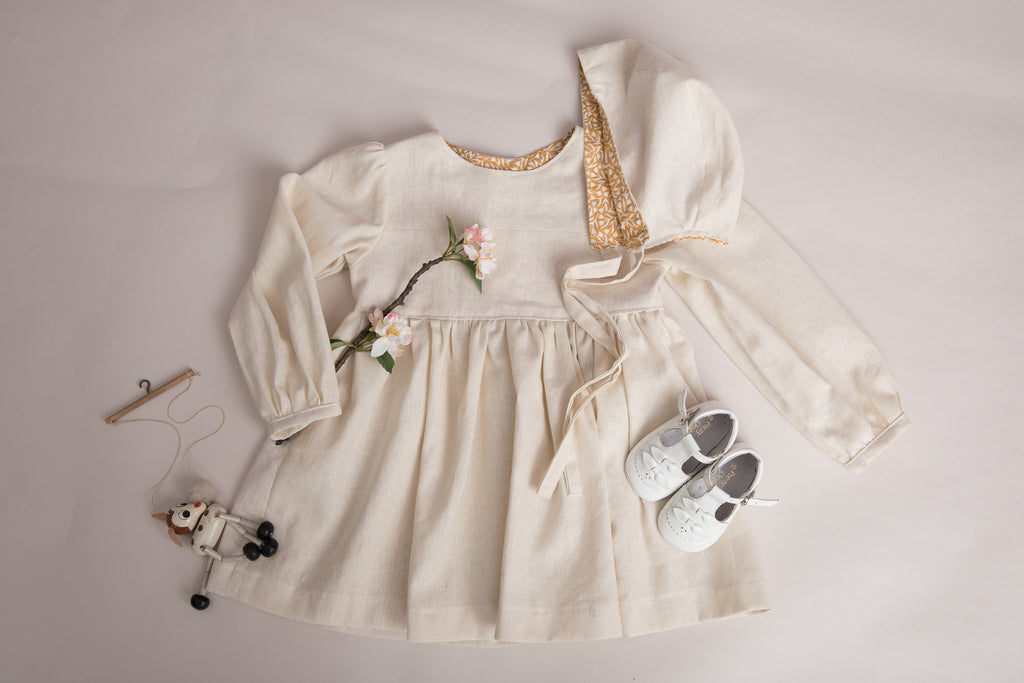 Girls Linen Reversible Bonnet - special occasion - photography shoot