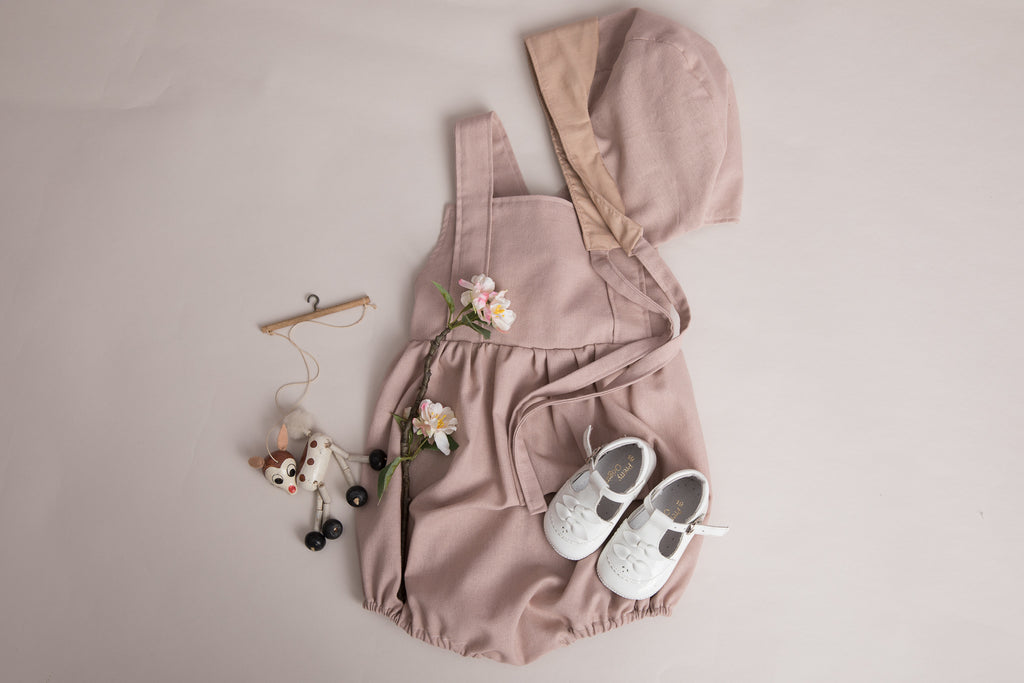Girls Dusky Pink Linen Romper and Reversible Bonnet - special occasions - photography shoot