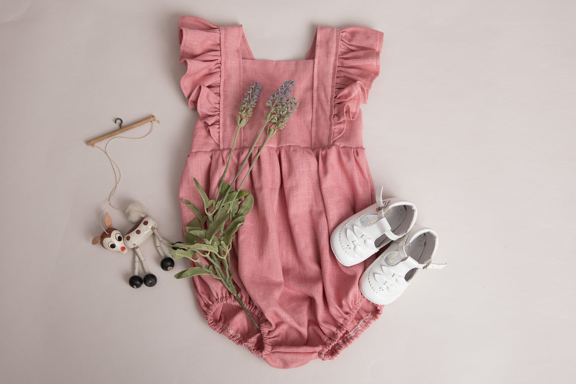 Girls Rose Linen Ruffle Romper and Reversible Bonnet - birthday outfit, special occasion, photography shoot